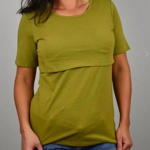 Tops - Maternity Nursing Shirt Olive Green Small